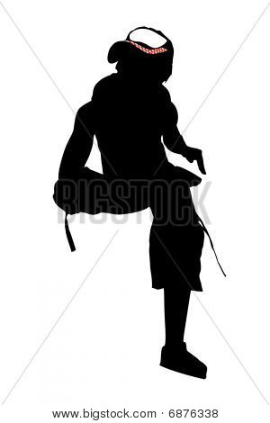 Vector silhouette of young dancing woman