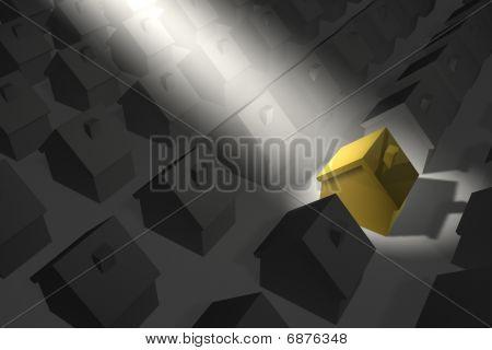 Golden-yellow House In Spotlight