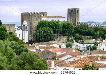 Rooftops And Castle, Obidos (portugal)