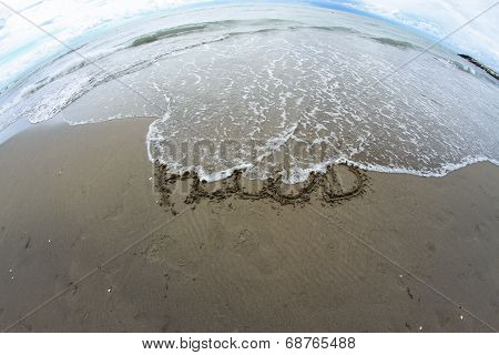 Sea Wave That Erases The Word Flood On The Sea Beach 3