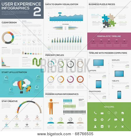Flat awesome user experience infographic vector element set