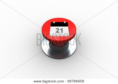 Composite image of calander graphic on digitally generated red push button
