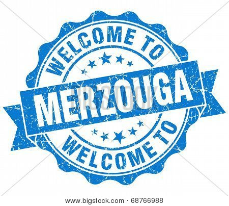 Welcome To Merzouga Blue Vintage Isolated Seal