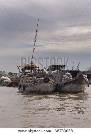 Two Barges Loaded With Tapioca And Jicama.