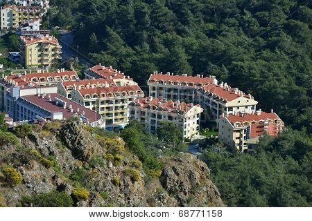 MARMARIS, TURKEY - APRIL 17, 2014: New residential buildings in Marmaris. City population increases 10 times during the tourism season, and its nightlife rivals anything on the Turkish coast