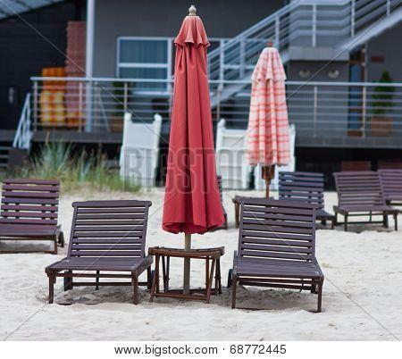 Sunbeds On The Beach In Latvia