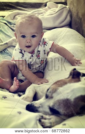 Vintage Baby and Dog