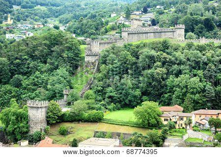 BELLINZONA, SWITZERLAND - JULY 4, 2014: Castello di Montebello seen from Castelgrande. Montebello is the name of the hill on which the castle stands.