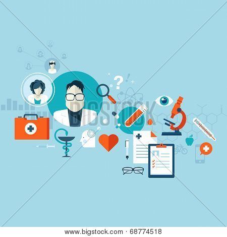 Flat design vector illustration concept for health care, medical services and clinics