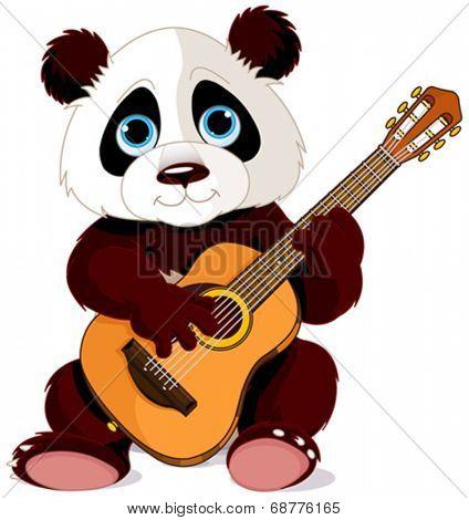Illustration of panda plays guitar