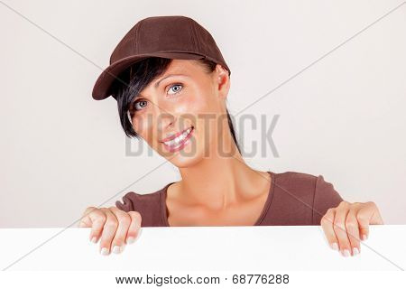 banner white board holding female delivery agent