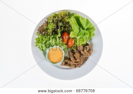 Organic Vegetable Contains Frillice Iceberg, Butterhead, Tomato, Pork And Cream Salad Isolated On Wh