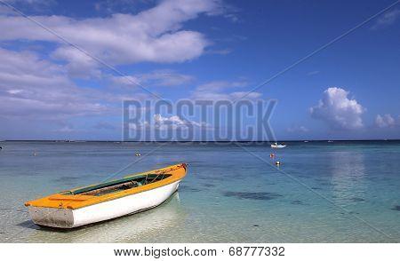 Boat on the lagoon in Mauritius island