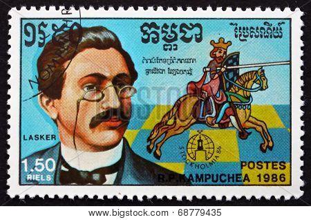 Postage Stamp Cambodia 1986 Emanuel Lasker, Chess Champion