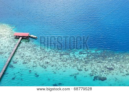 Aerial view of jetty at the ocean