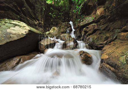 Waterfall in the Jungle of Borneo