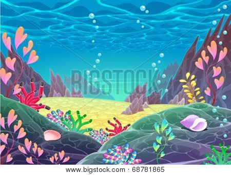 Funny cartoon seascape. Vector illustration