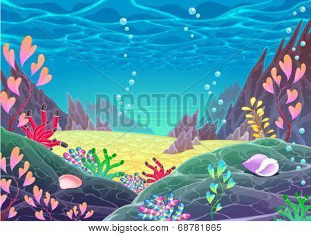 Funny cartoon seascape. Vector illustration