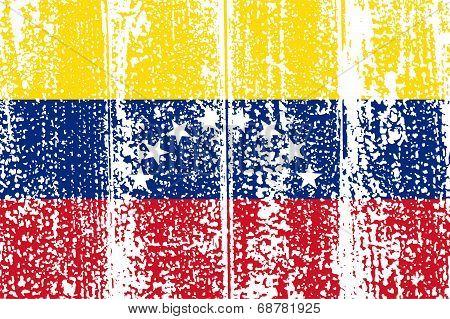 Venezuelan grunge flag. Vector illustration.