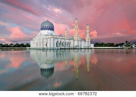 Sunset Kota Kinabalu City Floating Mosque