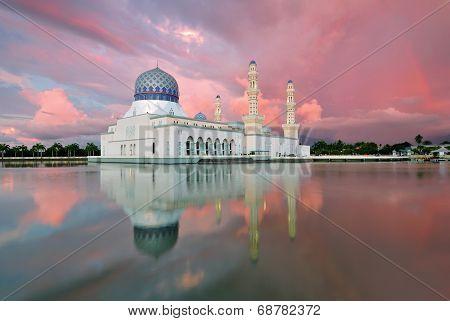 Sunset Kota Kinabalu City Floating Mosque