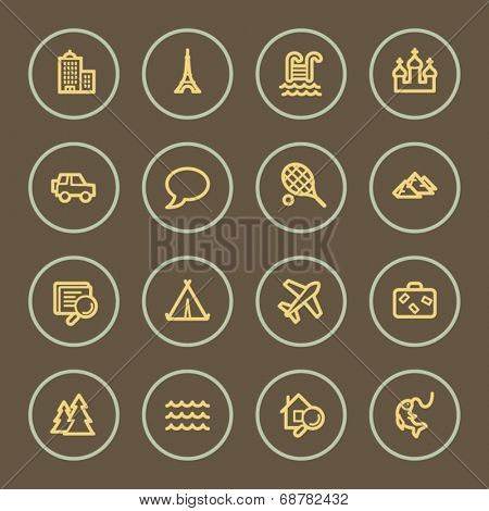 Travel web icons set, coffee series