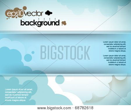 eps10 vector cartoon frame and cloud elements background