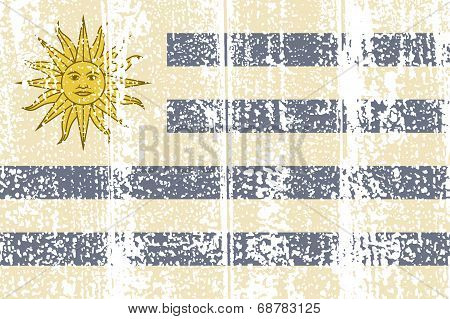 Uruguayan grunge flag. Vector illustration.