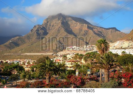 picturesque outstanding landscape of beautiful resort las americas on tenerife, canary islands, spai