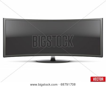 Frontal View Of Big Curved Widescreen Led Or Lcd Tv Monitor