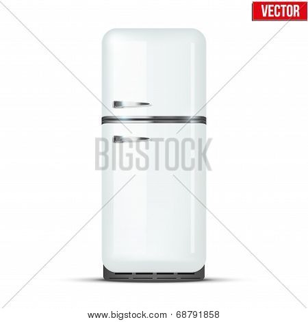 Retro Fridge Refrigerator. Vector Isolated On White Background