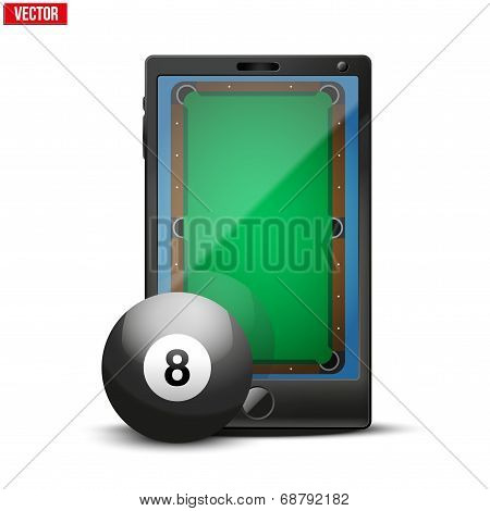Smartphone With Billiard Ball And Field On The Screen.