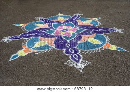 Colorful Rays Of Rangoli