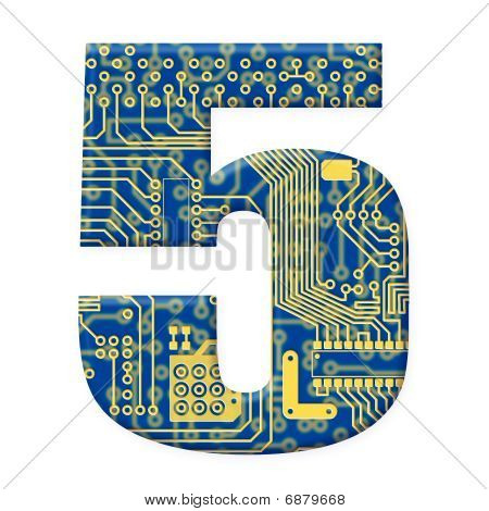 Digit From Electronic Circuit Board Alphabet On White Background - 5