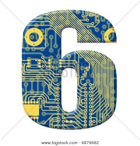 Digit From Electronic Circuit Board Alphabet On White Background - 6