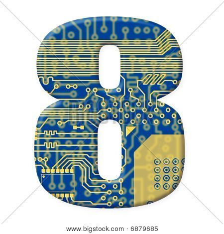 Digit From Electronic Circuit Board Alphabet On White Background - 8
