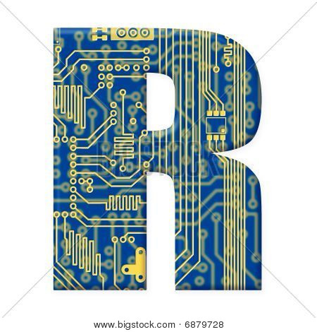 Letter From Electronic Circuit Board Alphabet On White Background - R