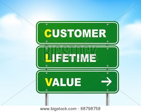 3D Customer Lifetime Value Road Sign