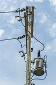 picture of transformer  - High voltage poles And current transformers and transmission lines - JPG