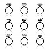 picture of jewelry  - Wedding rings vector icon - JPG