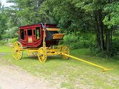 stock photo of stagecoach  - A restored stagecoach in a arboretum in Brainerd MN - JPG
