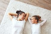 picture of preteen  - Mother with her preteen daughter at home - JPG