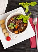 pic of boeuf  - Boeuf bourguignon with carrots onions and mushrooms - JPG