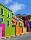 stock photo of malay  - Colorful houses of Bo Kaap, Cape Town, South Africa ** Note: Visible grain at 100%, best at smaller sizes - JPG