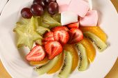 pic of fruit platter  - Fruit Platter of various fresh fruits and marshmallows - JPG