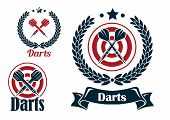 Постер, плакат: Three different darts emblems or badges