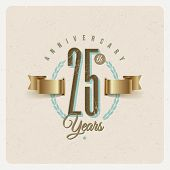 picture of eyeleteer  - Vintage Anniversary type emblem with golden ribbon and decorative elements  - JPG