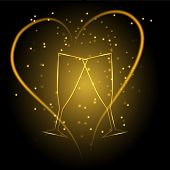 pic of frizzle  - Wedding glasses with heart in gold color vector eps10 - JPG
