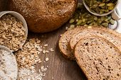 picture of flax seed  - Bread with pumpkin seeds flax and sesame seeds - JPG