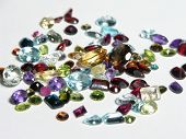 picture of marquise  - Mixed faceted gemstone parcel spread out - JPG